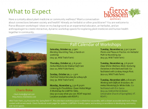 This image shows a calendar listing of workshops offered Fall 2019. Text copied below.